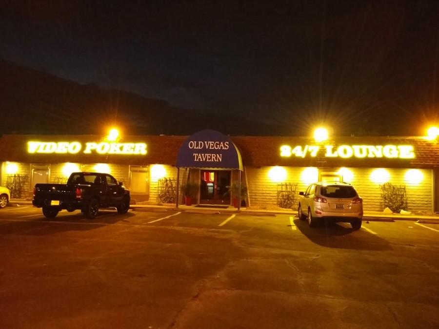 Old Vegas Tavern Lighted Parking Lot